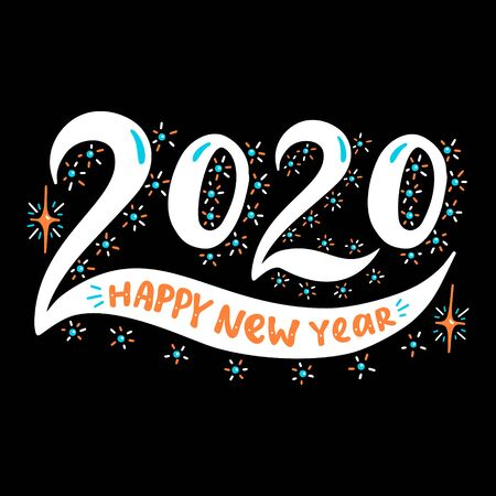 2020 Happy New Year. Poster with hand drawn lettering.Vector illustration. Иллюстрация
