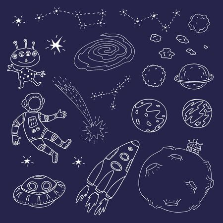 Cosmic set. Outline vector illustration of astronaut, spacecraft, planets, moon, alien, constellations, comet. Stock Illustratie