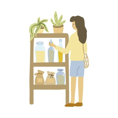 Zero waste shop. Woman with mesh market bag. Vector illustration.