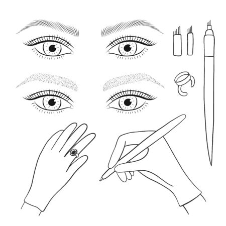 Microblading, microshading eyebrows. Womans eyes and eyebrows. Tools. Vector set.