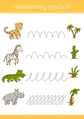 Handwriting practice. Educational children game. Vector illustration. Leopard, rhino, zebra, crocodile. 向量圖像