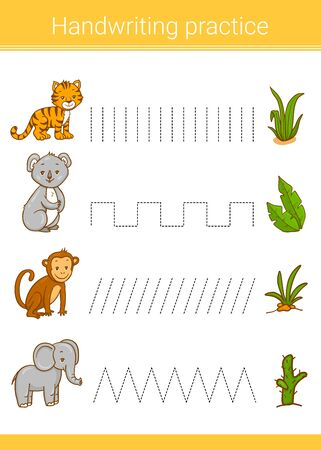 Handwriting practice. Educational children game. Vector illustration. Koala, tiger, monkey, elephant.