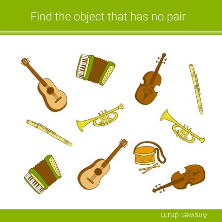 Find the object that has no pair. Children education game. Musical instruments.