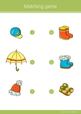 Children educational game. Match elements. Vector matching game.