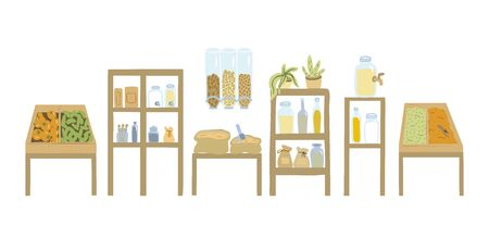 Zero waste shop. Shelves, products. Vector illustration. Illusztráció
