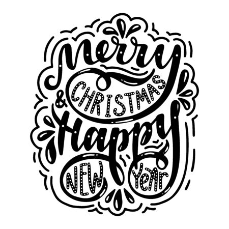 Merry christmas & happy new year. Poster with hand drawn lettering.Vector illustration.