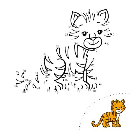 Educational children game. Dot to dot. Tiger. Coloring book.