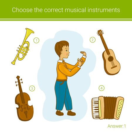Children education game. Choose the correct musical instruments. Stock Illustratie
