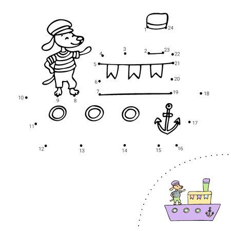 Educational children game. Dot to dot. Ship, dog. Coloring book.