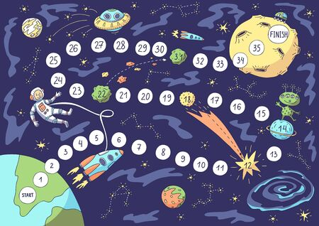 Board game. Vector illustration of space, astronaut, spacecraft, planets, moon, alien. Stock Illustratie