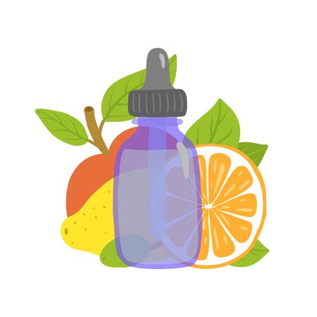 Aha acids. Packaging design with fruits. Ilustracja