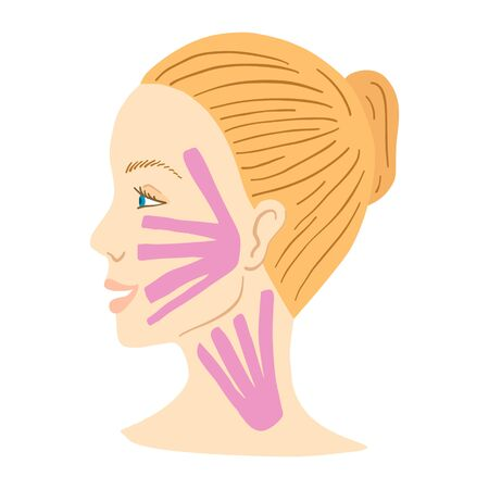 Young woman's profile face with facial kinesio tape. Vector illustration. Stok Fotoğraf - 129258485