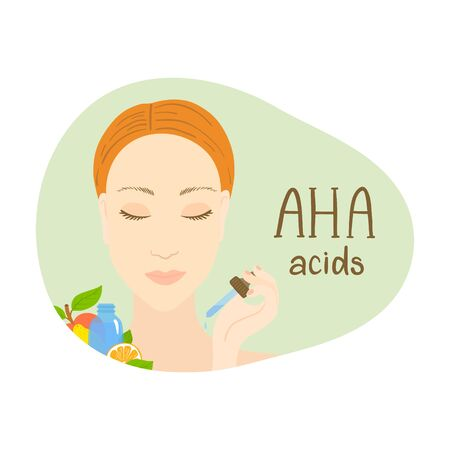 Aha acids. Packaging design. Woman with pipette.