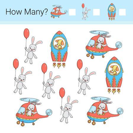 Combien de? Illustration vectorielle du jeu de comptage.