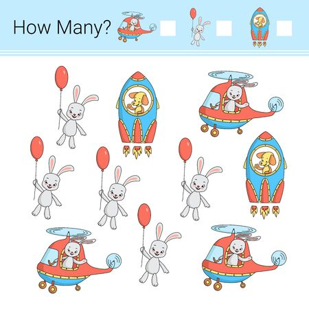 How many? Vector illustration of counting game.
