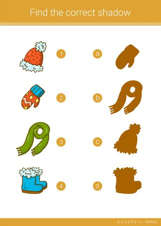 Children educational game. Find the correct shadow. Stock Illustratie