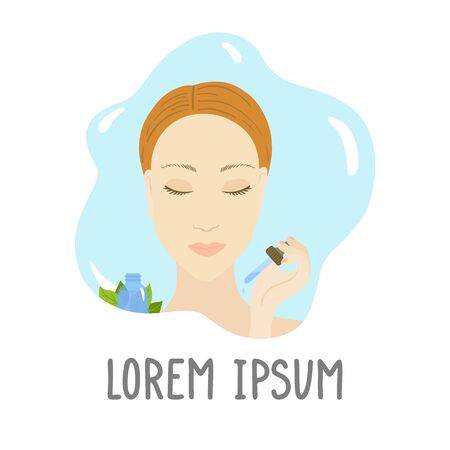 Vector illustration of woman with pipette, serum.  イラスト・ベクター素材