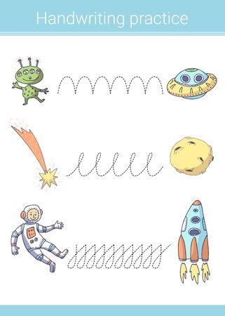 Handwriting practice. Educational children game. Vector illustration. Astronaut; rocket; moon; alien.  イラスト・ベクター素材