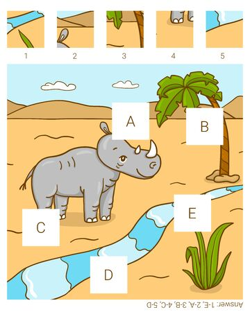 Find the missing pieces. Rhino. Educational children game.