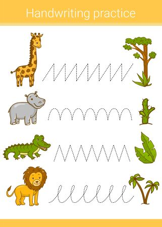Handwriting practice. Educational children game. Vector illustration. Giraffe, hippopotamus, lion, crocodile. Foto de archivo - 129258451