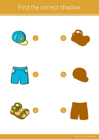 Children educational game. Find the correct shadow.  イラスト・ベクター素材