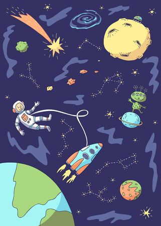 Vector illustration of space, astronaut, spacecraft, planets, moon, alien.