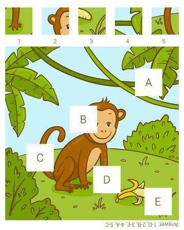 Find the missing pieces. Monkey. Educational children game.
