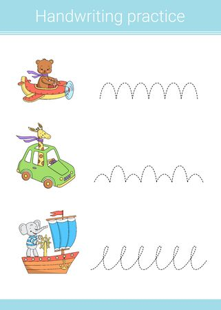 Handwriting practice. Educational children game. Vector illustration. Car, airplane, ship, cute animals.