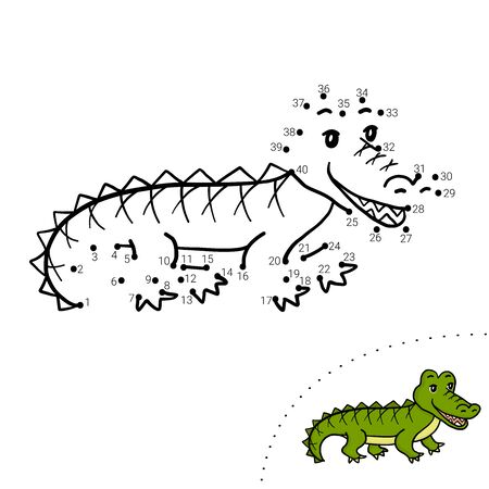 Educational children game. Dot to dot. Crocodile. Coloring book.