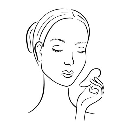 Gua Sha facial massage. Woman with stone massage scraper. 向量圖像