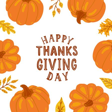 Happy thanksgiving. Hand drawn card with hand lettering,  pumpkins, leaves.