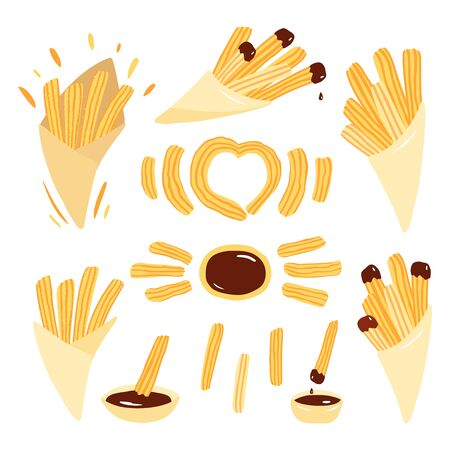 Set of churros with chocolate  sauce. Mexican snack. Hand drawn vector illustration. Churros sticks in paper bag,  bowl with hot chocolate.
