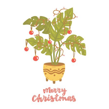 Alternative Christmas tree. Monstera with christmas balls, lamp garland. Hand drawn vector illustration with lettering. Merry Christmas. Tropical plant.  イラスト・ベクター素材