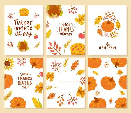 Set of happy thanksgiving cards. Turkey and pie oh my. Give thanks always. Be grateful. Background.  Illustration