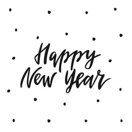 Happy New Year. Hand drawn vector lettering.