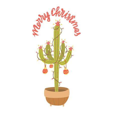 Alternative Christmas tree. Cactus with christmas balls, light garland. Hand drawn vector illustration with lettering. Merry Christmas.