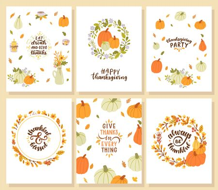Set of happy thanksgiving cards. Eat drink and give thanks. Thankful & blessed. Give thanks in everything. Always be thankful.