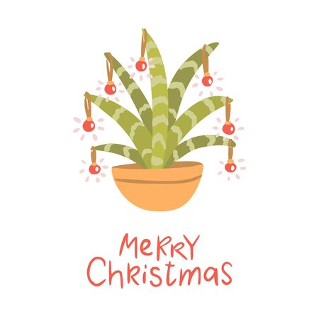 Alternative Christmas tree. Cactus with christmas balls. Hand drawn vector illustration with lettering. Merry Christmas.  イラスト・ベクター素材