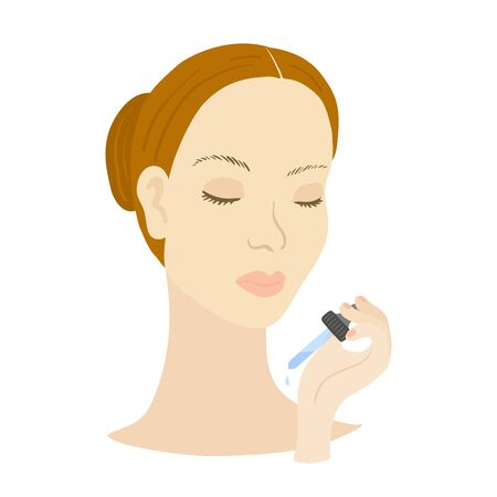 Vector illustration of woman with pipette. Beauty routine.