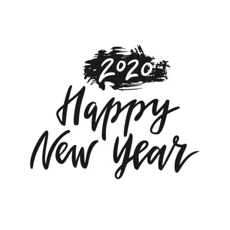 Happy New Year 2020. Hand drawn vector lettering.