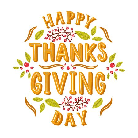 Happy thanksgiving day. Hand drawn illustration with hand lettering.  イラスト・ベクター素材