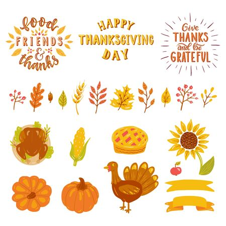 Happy thanksgiving day, Give thanks and be gratiful, food, friends & thanks. Turkey, pumpkin, leaves, berries, pie, corn, sunflower, ribbons.