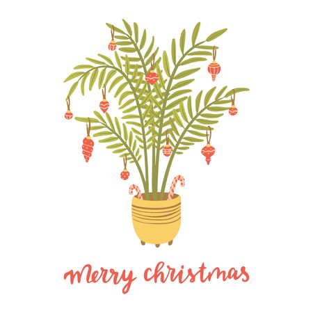 Alternative Christmas tree. Palm with christmas balls. Hand drawn vector illustration with lettering. Merry Christmas.  イラスト・ベクター素材