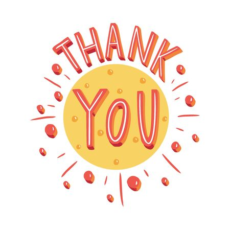 Thank you. Hand drawn illustration with hand lettering.
