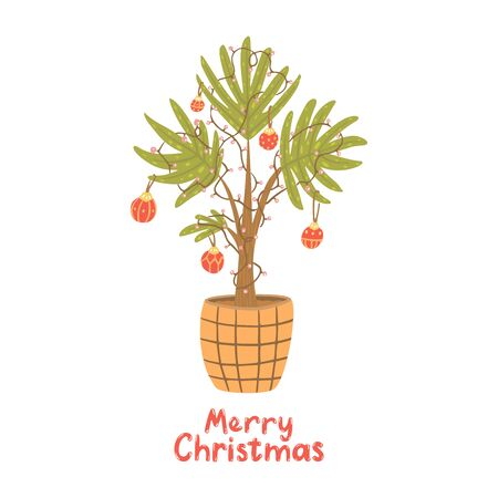 Alternative Christmas tree. Palm with christmas balls, lamp garland. Hand drawn vector illustration with lettering. Merry Christmas.