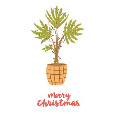 Alternative Christmas tree. Palm with lamp garland. Hand drawn vector illustration with lettering. Merry Christmas.  イラスト・ベクター素材