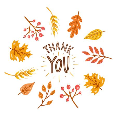 Thank you. Round frame with autumn leaves. Hand drawn illustration with hand lettering.  イラスト・ベクター素材