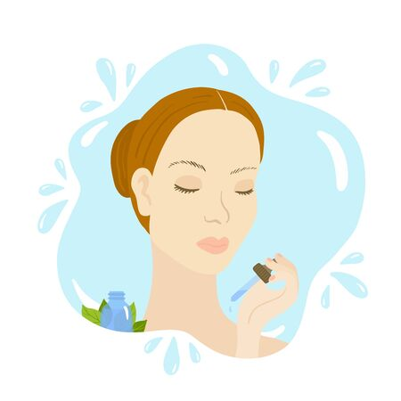 Vector illustration of woman with pipette, serum. Stock Illustratie