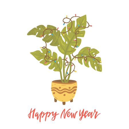 Alternative Christmas tree. Monstera with lamp garland. Hand drawn vector illustration with lettering. Happy New Year. Tropical plant.  イラスト・ベクター素材
