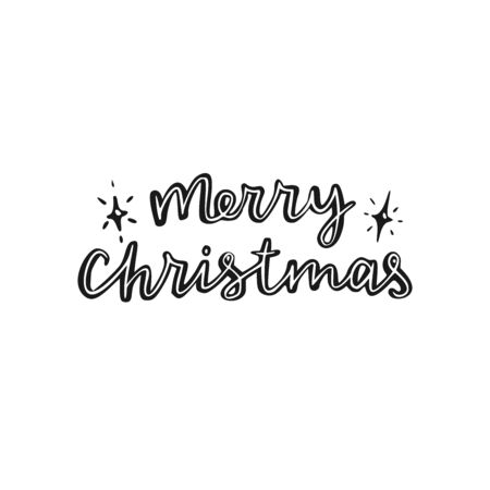 Merry Christmas. Hand drawn vector lettering.